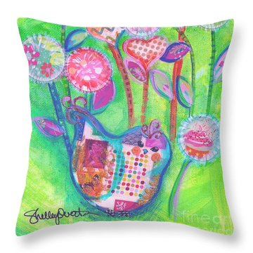 Happy Birthday Mindy Birdy Throw Pillow