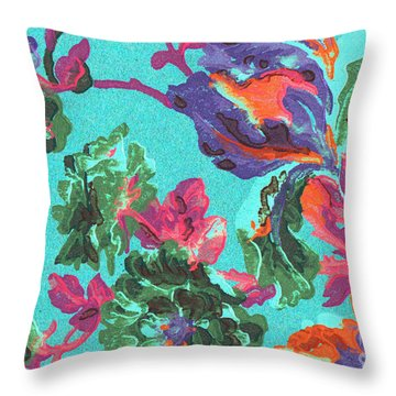 Throw Pillow featuring the mixed media Happy Blooms by Writermore Arts