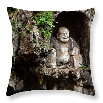 Happy Buddha Throw Pillow by Harry Spitz