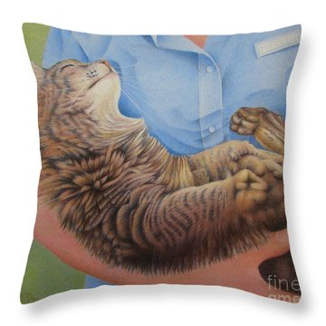 Happy Cat Throw Pillow by Pamela Clements