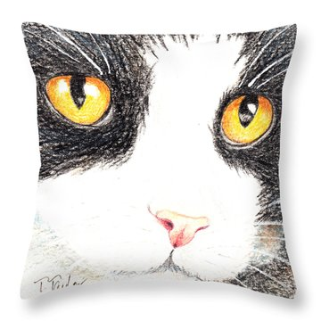 Happy Cat With The Golden Eyes Throw Pillow by Terry Taylor