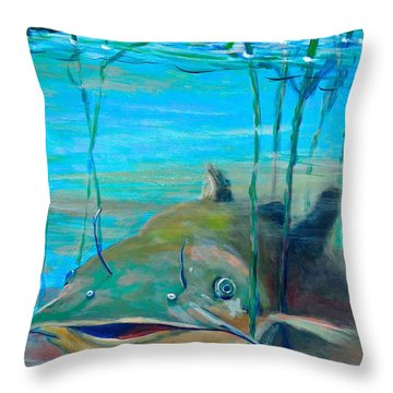 Happy Catfish Throw Pillow