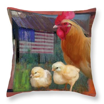 Happy Chicken  Throw Pillow