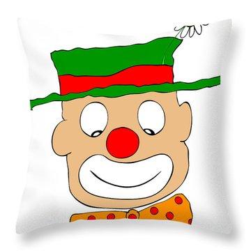 Happy Clown Throw Pillow by Michal Boubin