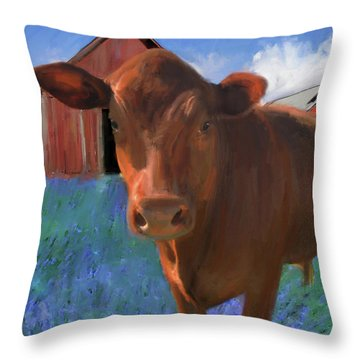 Happy Cow West Marin  Throw Pillow
