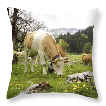 Happy Cows In High Pastures Throw Pillow by Colleen Williams