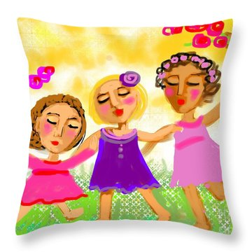 Happy Days Throw Pillow by Elaine Lanoue