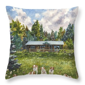 Throw Pillow featuring the painting Happy Dogs by Anne Gifford