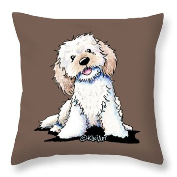 Happy Doodle Puppy Throw Pillow