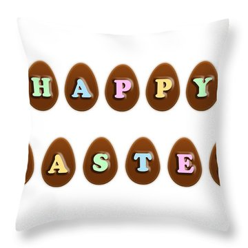 Throw Pillow featuring the digital art Happy Easter Chocolate Eggs by Shelley Neff
