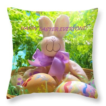 Happy Easter Everyone Throw Pillow by Denise Fulmer