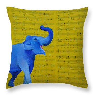 Happy Elephant Singing Emily Throw Pillow
