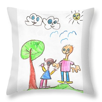 Happy Faces Throw Pillow