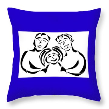 Throw Pillow featuring the mixed media Happy Family by Delin Colon