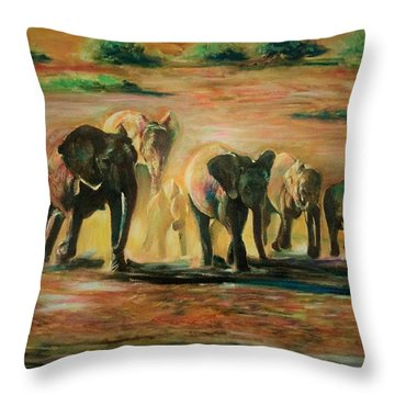 Happy Family Throw Pillow by Khalid Saeed