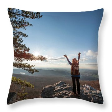 Happy Female Hiker At The Summit Of An Appalachian Mountain Throw Pillow