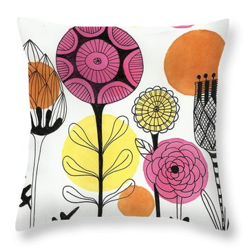 Throw Pillow featuring the mixed media Happy Flowers by Lisa Noneman