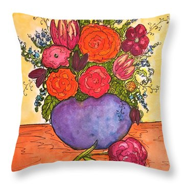 Happy Flowers Throw Pillow