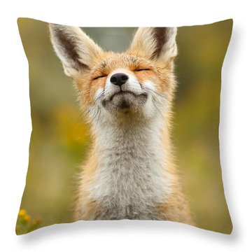 Happy Fox Throw Pillow by Roeselien Raimond