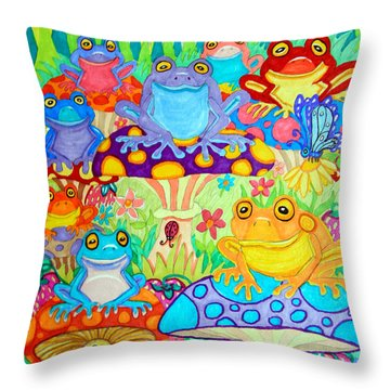 Happy Frogs In Mushroom Valley Throw Pillow