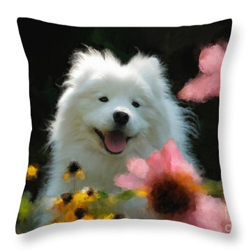 Throw Pillow featuring the digital art Happy Gal In The Garden by Lois Bryan