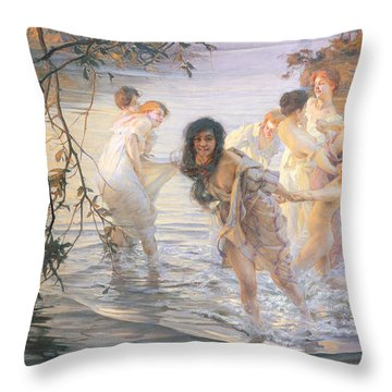 Happy Games Throw Pillow by Paul Chabas