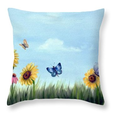 Throw Pillow featuring the painting Happy Garden by Carol Sweetwood