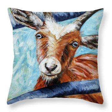 Happy Goat Throw Pillow