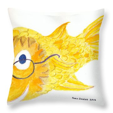 Happy Golden Fish Throw Pillow by Fred Jinkins