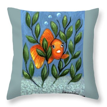 Happy Goldfish Throw Pillow