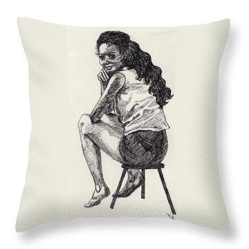 Happy Greeting Throw Pillow by Annemeet Hasidi- van der Leij