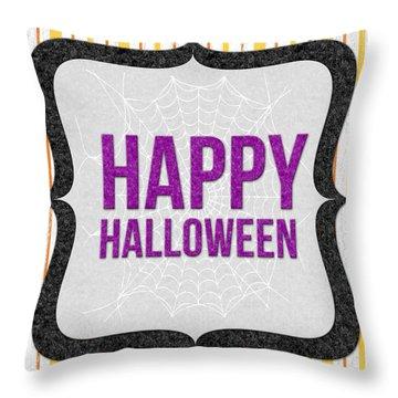 Happy Halloween-art By Linda Woods Throw Pillow