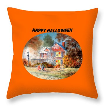 Happy Halloween Throw Pillow by Bill Holkham