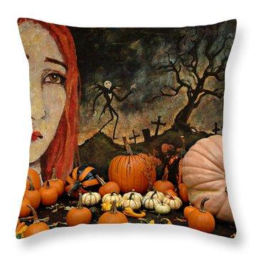 Happy Halloween Throw Pillow by Jeff Burgess