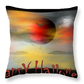 Happy Halloween Throw Pillow by Linda Galok