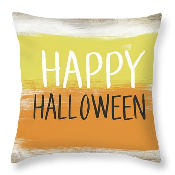 Happy Halloween Sign- Art By Linda Woods Throw Pillow