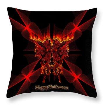 Happy Halloween Sinedot Fractal Fire Demon Throw Pillow