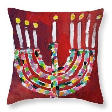 Happy Hanukkah Colorful Menorah Card- Art By Linda Woods Throw Pillow