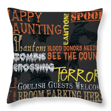 Happy Haunting Typography Throw Pillow