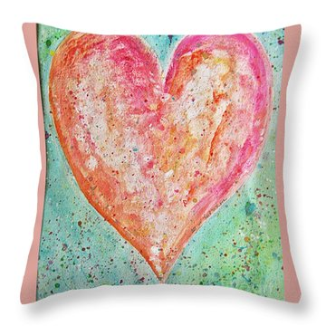 Throw Pillow featuring the painting Happy Heart by Diana Bursztein