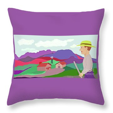 Happy Highland Farm Throw Pillow by Fred Jinkins