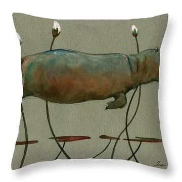 Happy Hippo Swimming Throw Pillow by Juan  Bosco
