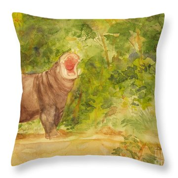 Happy Hippo Throw Pillow by Vicki  Housel