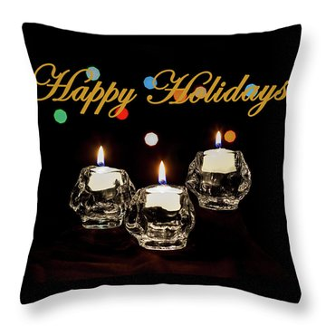 Throw Pillow featuring the photograph Happy Holiday Candles by Ed Clark