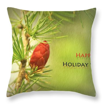 Happy Holiday Season Card Throw Pillow by Aimelle