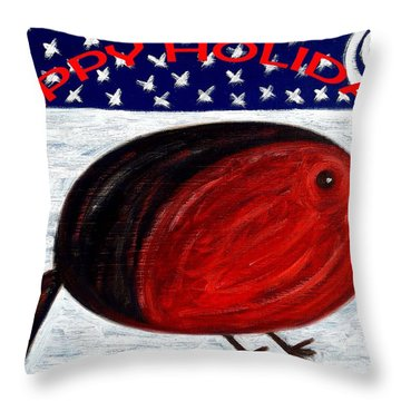 Happy Holidays 3 Throw Pillow by Patrick J Murphy
