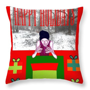Happy Holidays 63 Throw Pillow by Patrick J Murphy