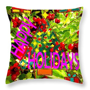 Happy Holidays 9 Throw Pillow by Patrick J Murphy