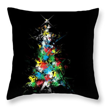 Happy Holidays - Abstract Tree - Horizontal Throw Pillow