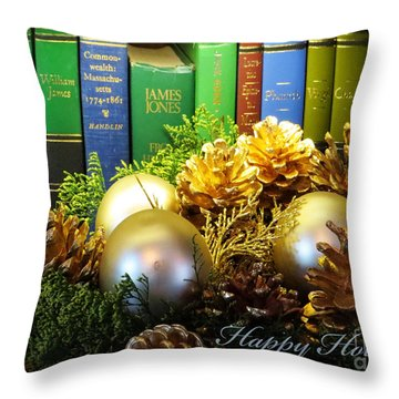Happy Holidays Books Throw Pillow